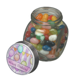 Balloons On Pink Stripes Glass Candy Jars