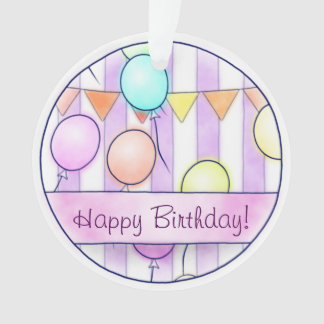 Balloons On Pink Stripes Ornament