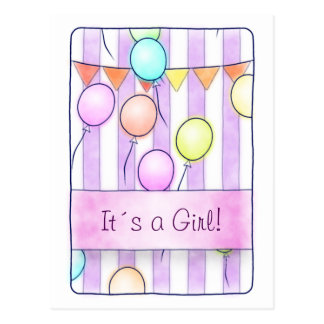 Balloons On Pink Stripes Postcard