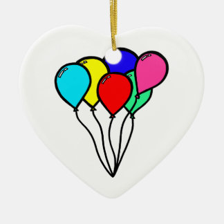 Balloons Double-Sided Heart Ceramic Christmas Ornament