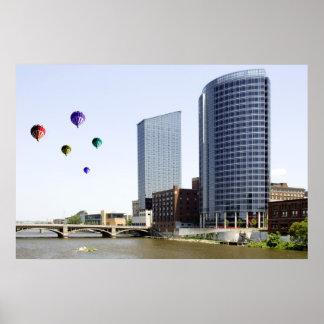 Balloons over Grand Rapids Michigan Poster Print