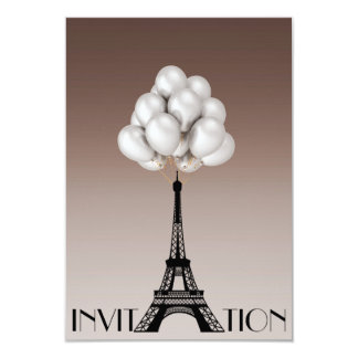 Balloons Paris Eiffel Tower Glam Chic Ivory Card
