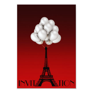 Balloons Paris Eiffel Tower Glam Chic Red Card