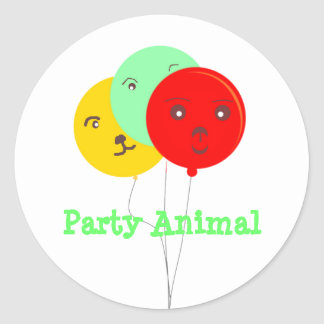 Balloons Party Animal  faces cards Classic Round Sticker