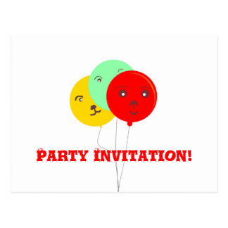 Balloons Party Animal faces cards Post Cards