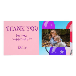 Balloons Personalized Thank you Photo Card
