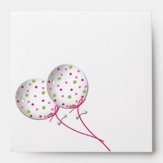 Balloons Pink Green Stripes Invitation Envelopes
