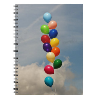 Balloons - Purple, Pink, Blue, Red, Yellow, Green Notebook