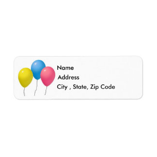 Balloons Return Address Label