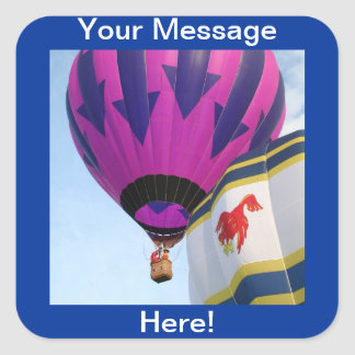 Balloons!  Rooster and Arrows Square Sticker