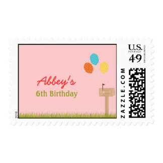 Balloons Sign Personalized Postage Stamp - Pink