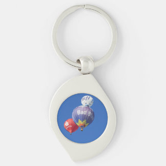 balloons Silver-Colored swirl metal keychain