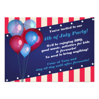 Balloons & Stripes 4th of July Party Invitations