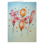 Balloons with Poodle Greeting Card