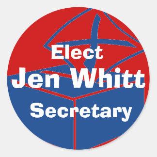 ballotbox, Jen Whitt, Secretary, Elect Classic Round Sticker
