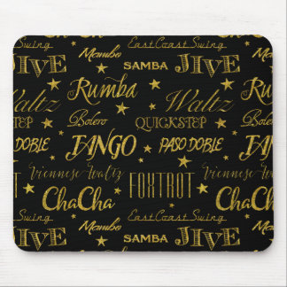 Ballroom Dance All Over Pattern Gold Faux Glitter Mouse Pad