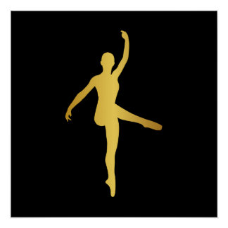 Ballroom Dance Girl Black Pirouette Minimalism Poster