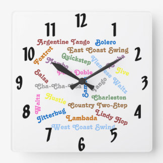 Ballroom Dance Styles Square Wall Clock
