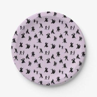 Ballroom Dancers, Black on Pink 7 Inch Paper Plate