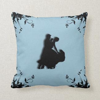 Ballroom Dancers Blue Throw Pillow