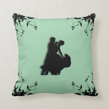 Ballroom Dancers Green Pillow