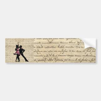 Ballroom dancers on vintage paper bumper sticker