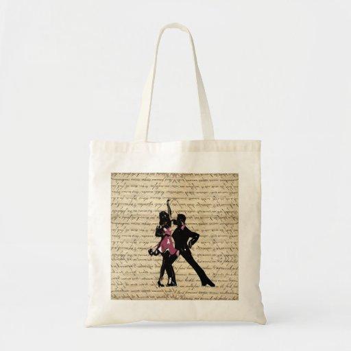 Ballroom dancers on vintage paper canvas bag