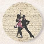 Ballroom dancers on vintage paper beverage coasters