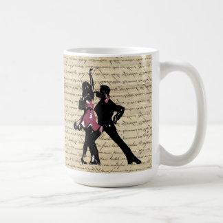 Ballroom dancers on vintage paper coffee mug