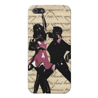 Ballroom dancers on vintage paper cover for iPhone SE/5/5s
