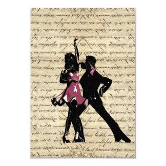 Ballroom dancers on vintage paper 3.5x5 paper invitation card