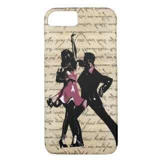 Ballroom dancers on vintage paper iPhone 7 case