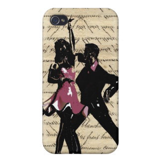 Ballroom dancers on vintage paper iPhone 4 cover
