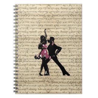 Ballroom dancers on vintage paper spiral note book