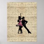 Ballroom dancers on vintage paper posters