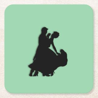 Ballroom Dancers Silhouette Square Paper Coaster