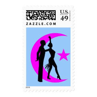 Ballroom moon star pink stamp