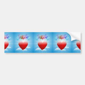 balls-313405  BALLOONS RED HEART BLUE SKY FLOATING Bumper Sticker
