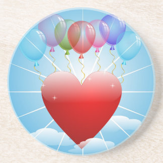 balls-313405  BALLOONS RED HEART BLUE SKY FLOATING Coaster