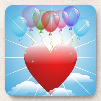balls-313405  BALLOONS RED HEART BLUE SKY FLOATING Coasters