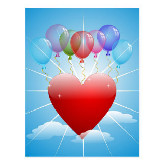balls-313405  BALLOONS RED HEART BLUE SKY FLOATING Postcard