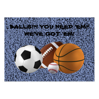 BALLS!?! (baseball, football, basketball, soccer) Large Business Card