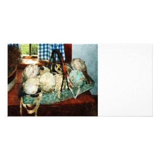 Balls of Cloth Strips in Basket Customized Photo Card