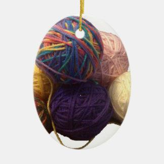 Balls of Yarn Ceramic Ornament