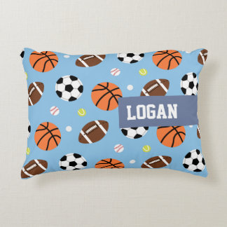 Balls Sports Themed Pattern Boys Room Decor Accent Pillow