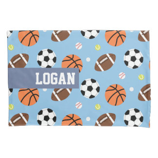 Balls Sports Themed Pattern Boys Room Decor Pillow Case