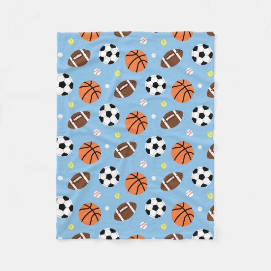 Balls Sports Themed Pattern For Boys Fleece Blanket