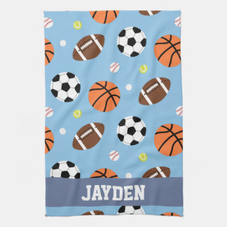 Balls Sports Themed Pattern For Boys Kitchen Towel
