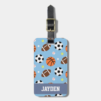 Balls Sports Themed Pattern For Boys Luggage Tag