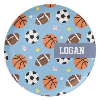Balls Sports Themed Pattern For Boys Melamine Plate